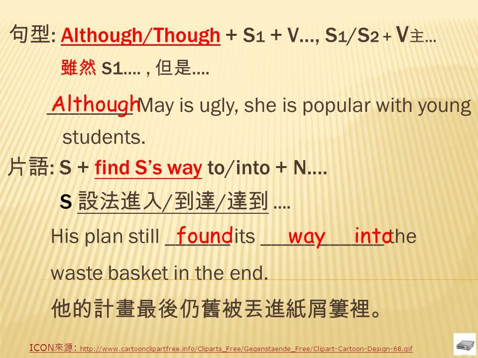句型 : Although/Though + S 1 + V…, S 1 /S 2 + V 主 … 雖然 S1…., 但是 ….