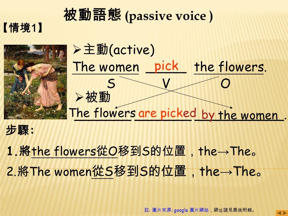 被動語態 (passive voice ) 步驟 : 【情境 1 】  主動 (active) The women _____ the flowers.