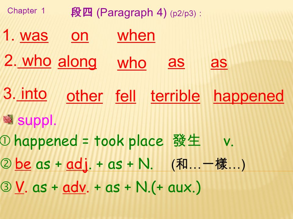 Chapter 1 1. was as 3. into as 段四 (Paragraph 4) (p2/p3): onwhen 2.