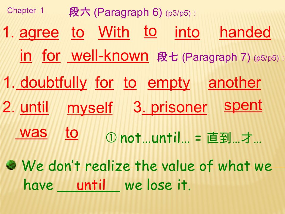 Chapter 1 1. agree in well-known 段六 (Paragraph 6) (p3/p5): toWithintohanded spent 1.