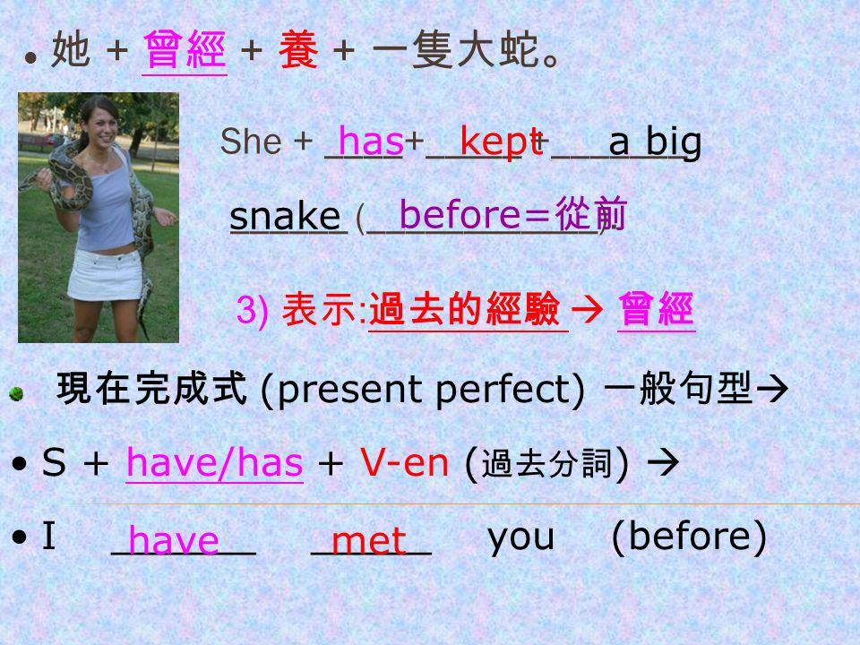 她 + 曾經 + 養 + 一隻大蛇。 She + ____+_____ +_______ ______ (____________).