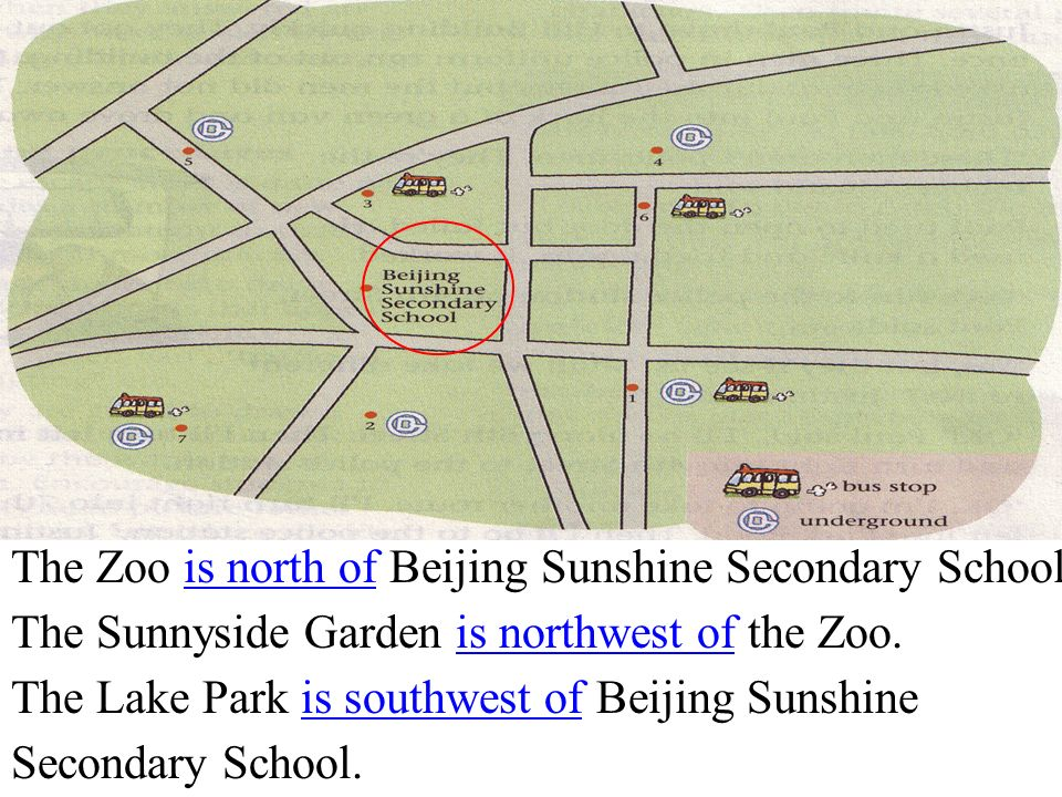 The Zoo is north of Beijing Sunshine Secondary School.