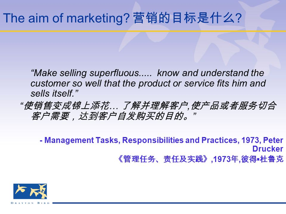 The aim of marketing. 营销的目标是什么 . Make selling superfluous.....