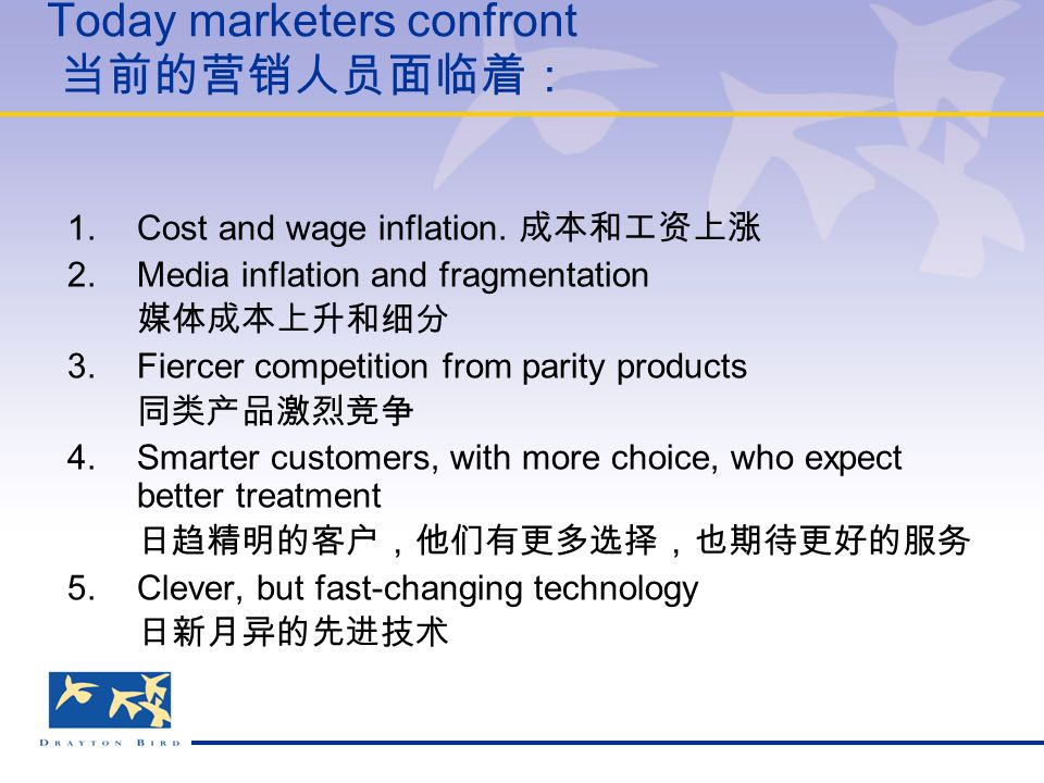 Today marketers confront 当前的营销人员面临着: 1.Cost and wage inflation.