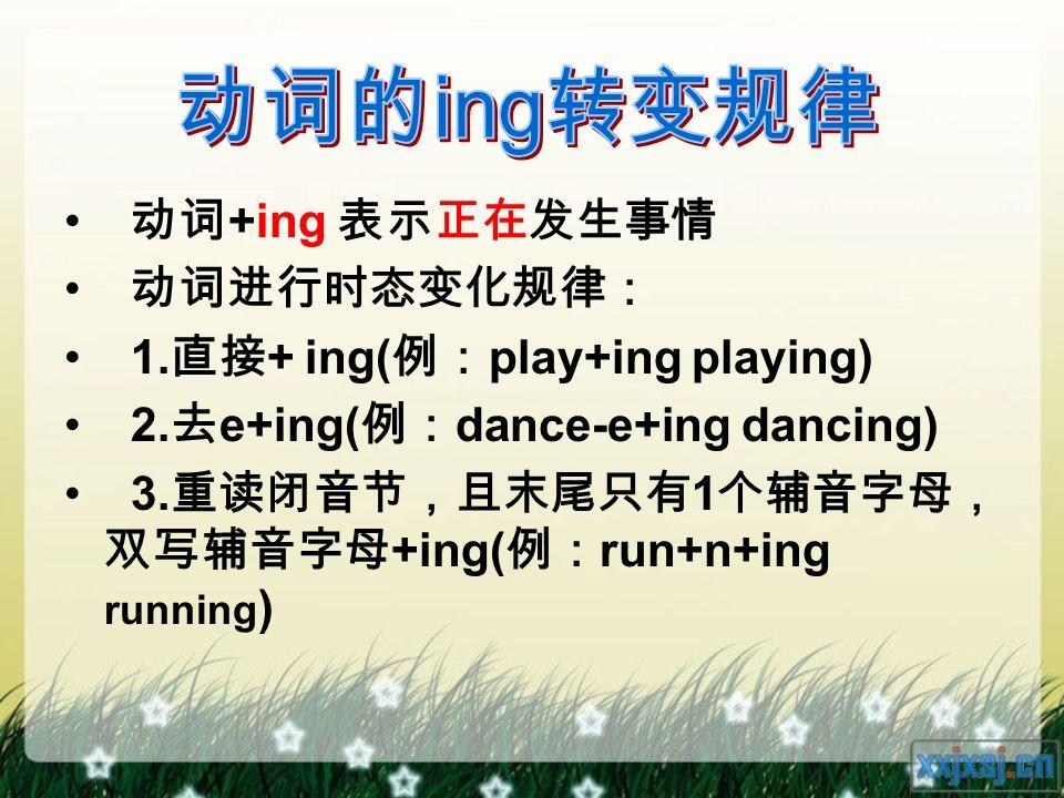 动词 +ing 表示正在发生事情 动词进行时态变化规律: 1. 直接 + ing( 例: play+ing playing) 2.