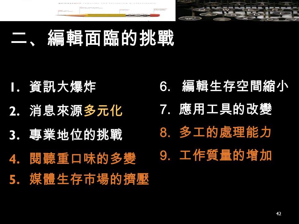 二、編輯面臨的挑戰 1. 資訊大爆炸 2. 消息來源多元化 3. 專業地位的挑戰 4. 閱聽重口味的多變 5.