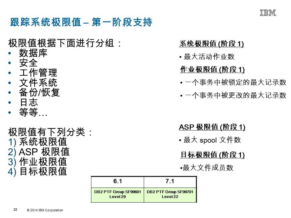 © 2014 IBM Corporation 22 Source:If applicable, describe source origin 跟踪系统极限值 – 第一阶段支持 极限值根据下面进行分组: 数据库 安全 工作管理 文件系统 备份 / 恢复 日志 等等 … 极限值有下列分类: 1) 系统极限值 2)ASP 极限值 3) 作业极限值 4) 目标极限值 6.17.1 DB2 PTF Group SF99601 Level 29 DB2 PTF Group SF99701 Level 22 作业极限值 ( 阶段 1) 一个事务中被锁定的最大记录数 一个事务中被更改的最大记录数 系统极限值 ( 阶段 1) 最大活动作业数 ASP 极限值 ( 阶段 1) 最大 spool 文件数 目标极限值 ( 阶段 1) 最大文件成员数