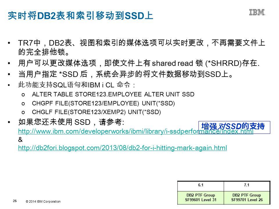 © 2014 IBM Corporation 25 Source:If applicable, describe source origin 实时将 DB2 表和索引移动到 SSD 上 TR7 中, DB2 表、视图和索引的媒体选项可以实时更改,不再需要文件上 的完全排他锁。 用户可以更改媒体选项,即使文件上有 shared read 锁 (*SHRRD) 存在.