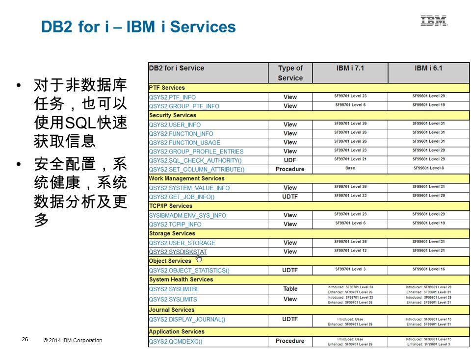© 2014 IBM Corporation 26 Source:If applicable, describe source origin DB2 for i – IBM i Services 对于非数据库 任务,也可以 使用 SQL 快速 获取信息 安全配置,系 统健康,系统 数据分析及更 多