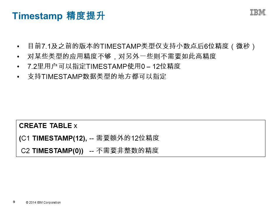 © 2014 IBM Corporation 99 Source:If applicable, describe source origin Timestamp 精度提升 目前 7.1 及之前的版本的 TIMESTAMP 类型仅支持小数点后 6 位精度(微秒) 对某些类型的应用精度不够,对另外一些则不需要如此高精度 7.2 里用户可以指定 TIMESTAMP 使用 0 – 12 位精度 支持 TIMESTAMP 数据类型的地方都可以指定 CREATE TABLE x (C1 TIMESTAMP(12), -- 需要额外的 12 位精度 C2 TIMESTAMP(0)) -- 不需要非整数的精度