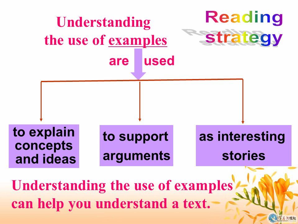 Understanding the use of examples are used to explain concepts and ideas to support arguments as interesting stories Understanding the use of examples can help you understand a text.