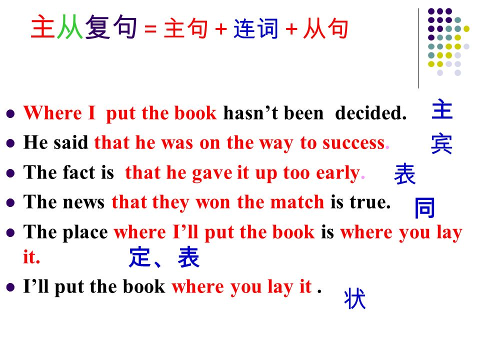 主从复句 =主句+连词+从句 Where I put the book hasn't been decided.