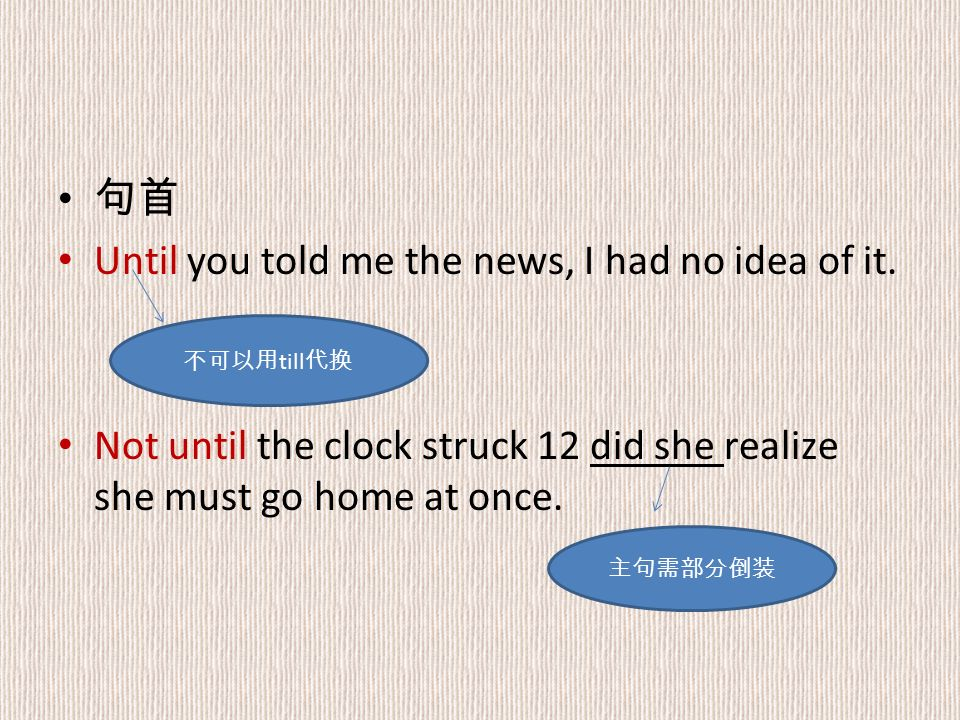 句首 Until you told me the news, I had no idea of it.