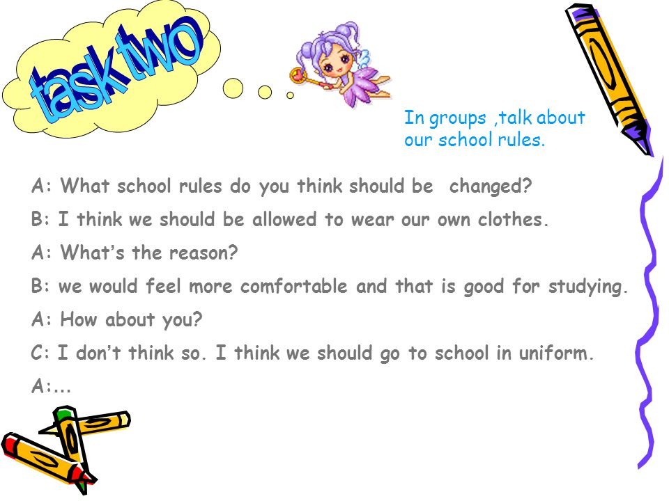 In groups,talk about our school rules. A: What school rules do you think should be changed.