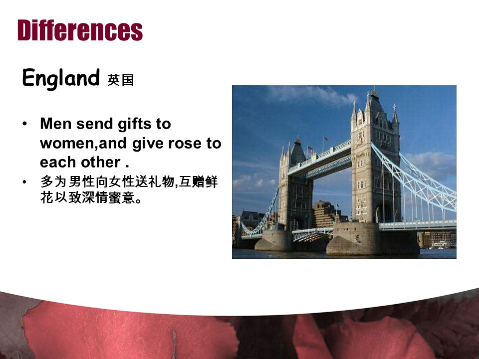 Differences England 英国 Men send gifts to women,and give rose to each other.