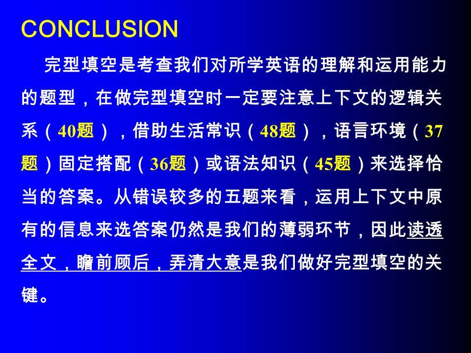 CONCLUSION 完型填空是考查我们对所学英语的理解和运用能力 的题型,在做完型填空时一定要注意上下文的逻辑关 系( 40 题),借助生活常识( 48 题),语言环境( 37 题)固定搭配( 36 题)或语法知识( 45 题)来选择恰 当的答案。从错误较多的五题来看,运用上下文中原 有的信息来选答案仍然是我们的薄弱环节,因此读透 全文,瞻前顾后,弄清大意是我们做好完型填空的关 键。