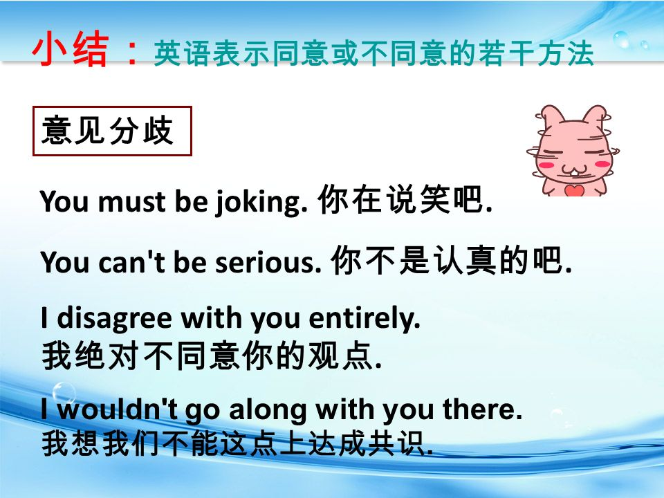 小结: 英语表示同意或不同意的若干方法 I disagree with you entirely. 我绝对不同意你的观点.