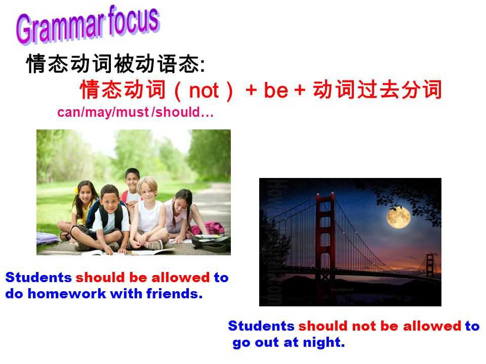 情态动词被动语态 : 情态动词( not ) + be + 动词过去分词 Students should not be allowed to go out at night.