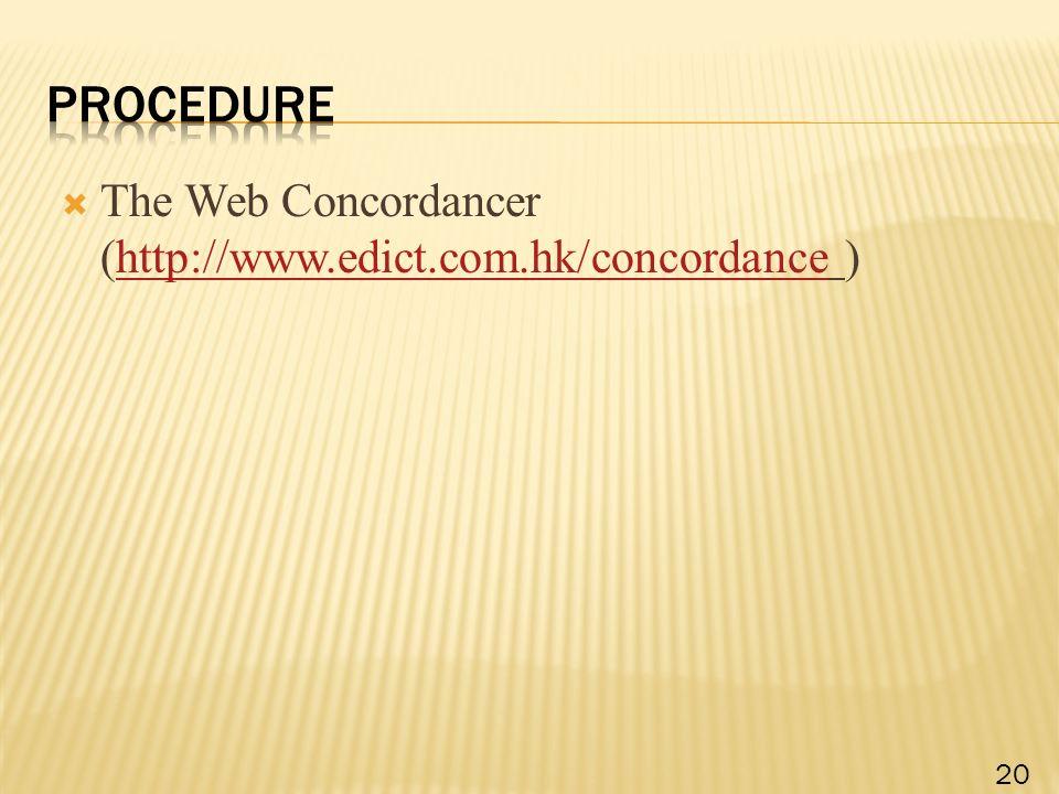  The Web Concordancer (http://www.edict.com.hk/concordance )http://www.edict.com.hk/concordance 20