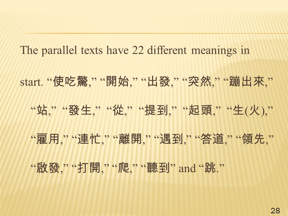 The parallel texts have 22 different meanings in start.