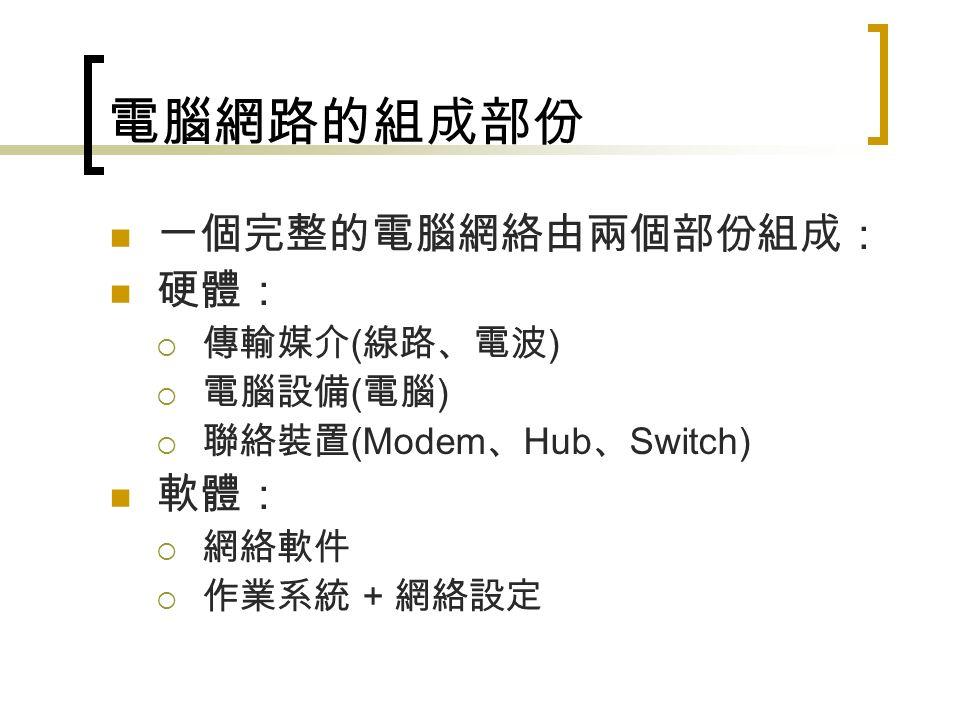 電腦網路的組成部份 一個完整的電腦網絡由兩個部份組成: 硬體:  傳輸媒介 ( 線路、電波 )  電腦設備 ( 電腦 )  聯絡裝置 (Modem 、 Hub 、 Switch) 軟體:  網絡軟件  作業系統 + 網絡設定