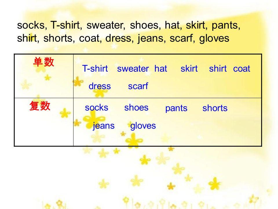 shoes hat socks T-shirt bag pants sweatershoes skirt shorts