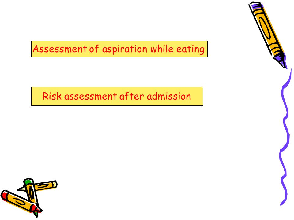 Assessment of aspiration while eating Risk assessment after admission