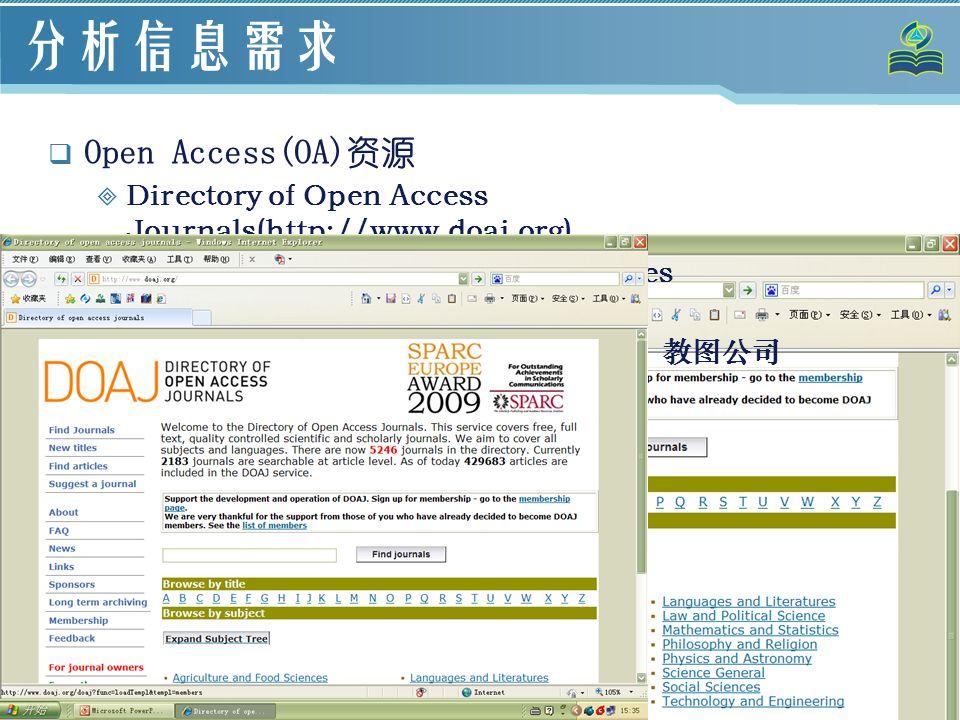 12 分析信息需求  Open Access(OA)资源  Directory of Open Access Journals(http://www.doaj.org)  Directory of Open Access Repositories (http://www.opendoar.org)  Socolar (http://www.socolar.com/):教图公司