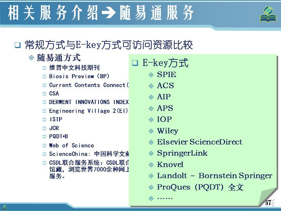 57 相关服务介绍  随易通服务  常规方式与E-key方式可访问资源比较  随易通方式  维普中文科技期刊  Biosis Preview(BP)  Current Contents Connect(CCC)  CSA  DERWENT INNOVATIONS INDEX  Engineering Village 2(EI)  ISTP  JCR  PQDT B  Web of Science  ScienceChina: 中国科学文献数据库服务系统  CSDL联合服务系统:CSDL联合目录数据库。能检索全国400余家图书情报机构的 馆藏,浏览世界7000余种网上期刊的目次文摘/全文。提供馆际互借与文献传递 服务。  E-key方式  SPIE  ACS  AIP  APS  IOP  Wiley  Elsevier ScienceDirect  SpringerLink  Knovel  Landolt – Bornstein Springer  ProQues(PQDT)全文  ……  E-key方式  SPIE  ACS  AIP  APS  IOP  Wiley  Elsevier ScienceDirect  SpringerLink  Knovel  Landolt – Bornstein Springer  ProQues(PQDT)全文  ……