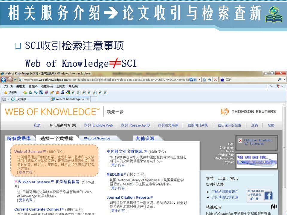 60 相关服务介绍  论文收引与检索查新  SCI收引检索注意事项 Web of Knowledge ≠ SCI