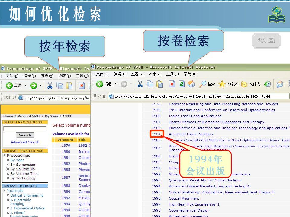 78 如何优化检索 1994年 会议出版 按年检索 按卷检索