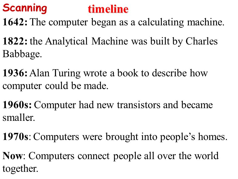 timeline 1642: The computer began as a calculating machine.