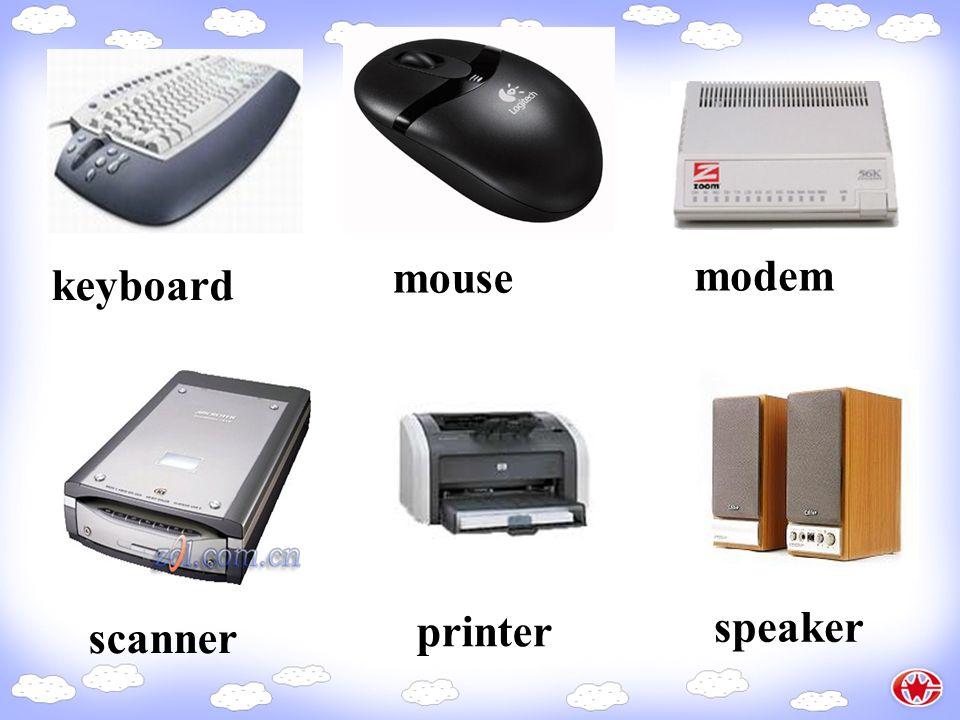 keyboard mouse modem scanner printer speaker