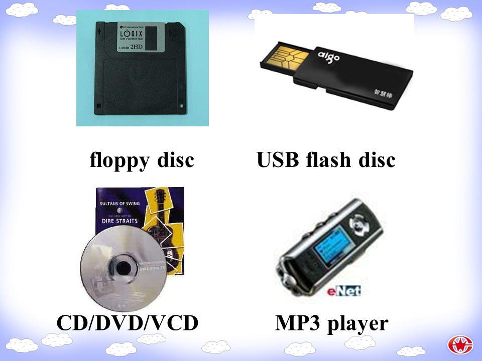 floppy discUSB flash disc CD/DVD/VCDMP3 player