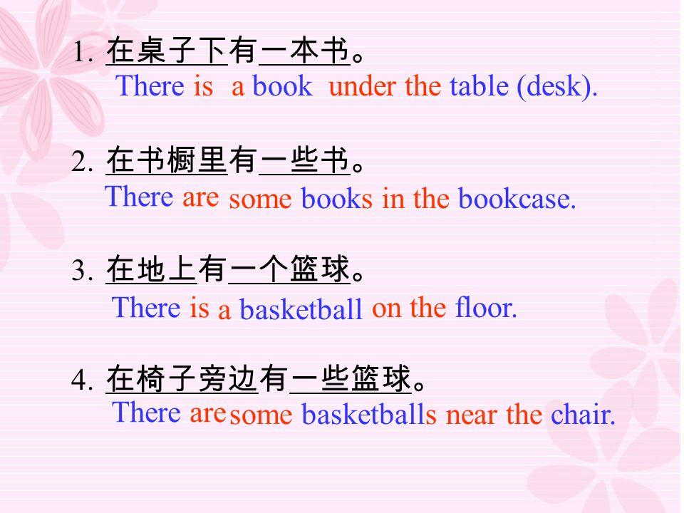 1. 在桌子下有一本书。 2. 在书橱里有一些书。 3. 在地上有一个篮球。 4. 在椅子旁边有一些篮球。 There is a book under the table (desk).