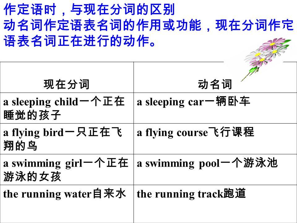 作定语时,与现在分词的区别 动名词作定语表名词的作用或功能,现在分词作定 语表名词正在进行的动作。 现在分词动名词 a sleeping child 一个正在 睡觉的孩子 a sleeping car 一辆卧车 a flying bird 一只正在飞 翔的鸟 a flying course 飞行课程 a swimming girl 一个正在 游泳的女孩 a swimming pool 一个游泳池 the running water 自来水 the running track 跑道