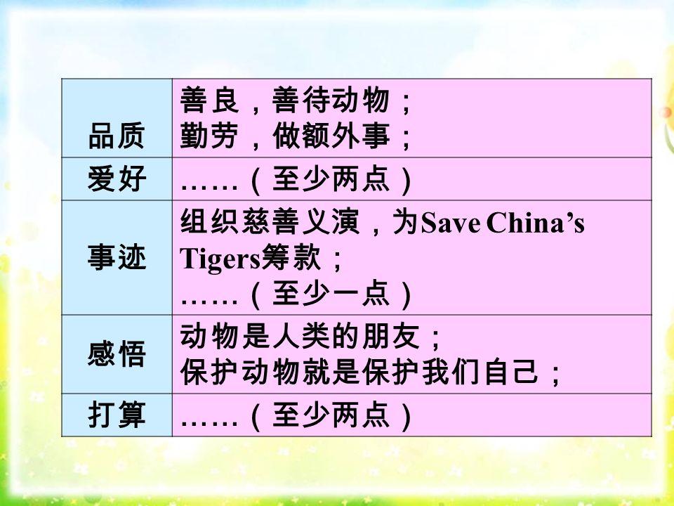 品质 善良,善待动物; 勤劳,做额外事; 爱好 …… (至少两点) 事迹 组织慈善义演,为 Save China's Tigers 筹款; …… (至少一点) 感悟 动物是人类的朋友; 保护动物就是保护我们自己; 打算 …… (至少两点)