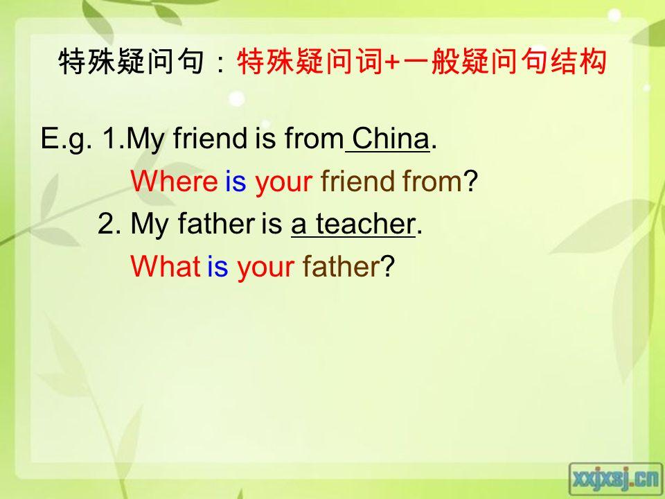 特殊疑问句:特殊疑问词 + 一般疑问句结构 E.g. 1.My friend is from China.