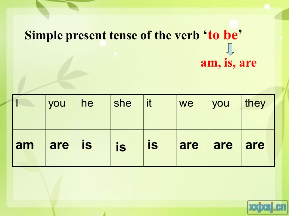 Simple present tense of the verb 'to be' am, is, are Iyouhesheitweyouthey are is am