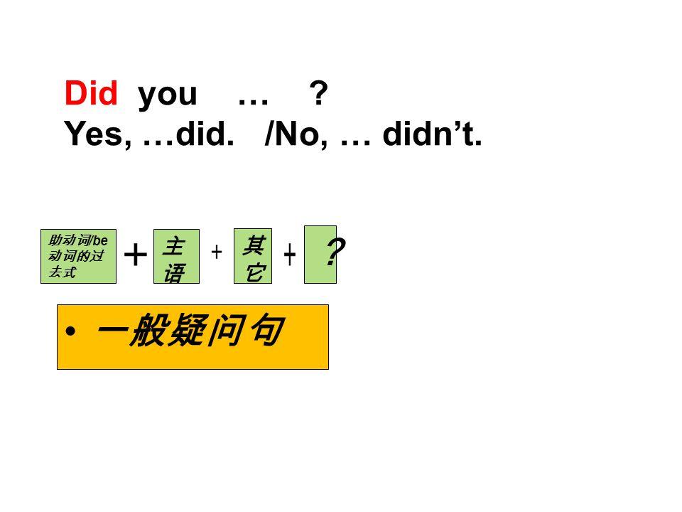 Did you … Yes, …did. /No, … didn't. 一般疑问句 助动词 /be 动词的过 去式 主语主语 其它其它 ?