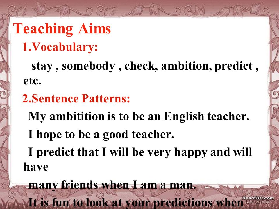 Teaching Aims 1.Vocabulary: stay, somebody, check, ambition, predict, etc.