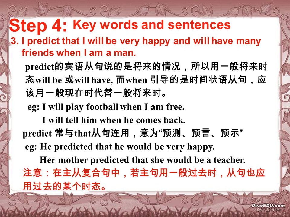 Step 4: Key words and sentences 3.