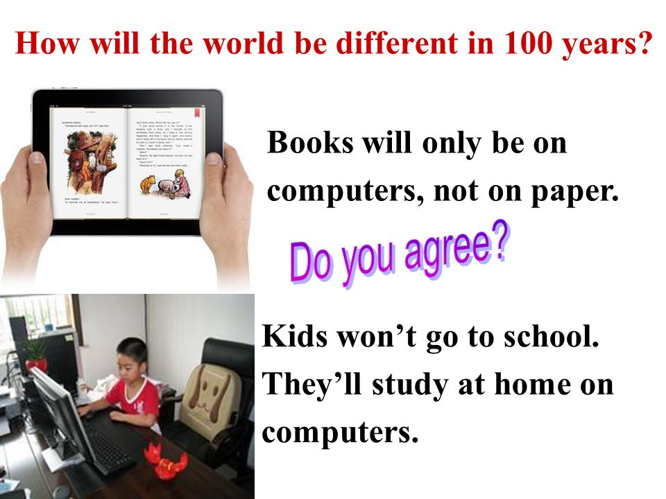 Books will only be on computers, not on paper. Kids won't go to school.