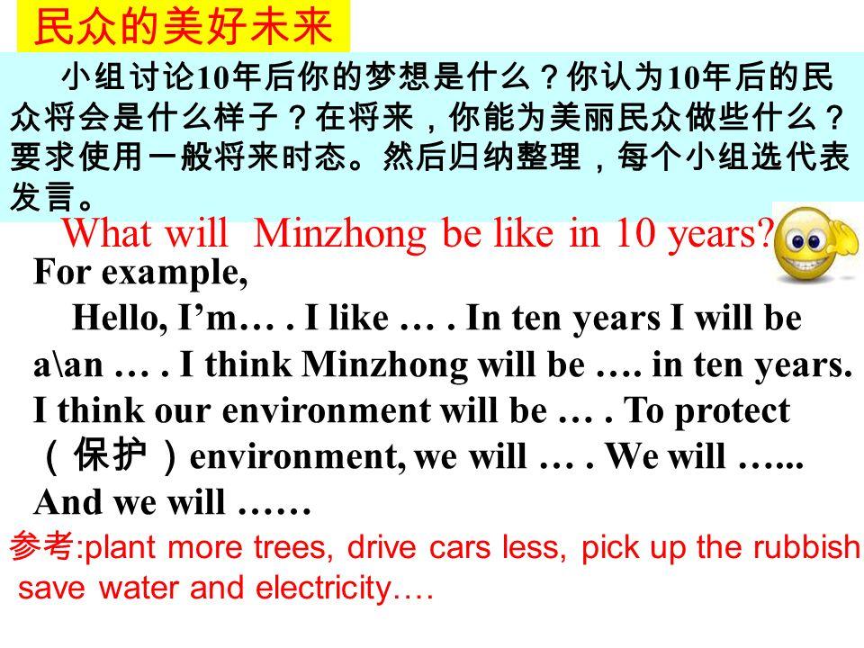 民众的美好未来 小组讨论 10 年后你的梦想是什么?你认为 10 年后的民 众将会是什么样子?在将来,你能为美丽民众做些什么? 要求使用一般将来时态。然后归纳整理,每个小组选代表 发言。 What will Minzhong be like in 10 years.