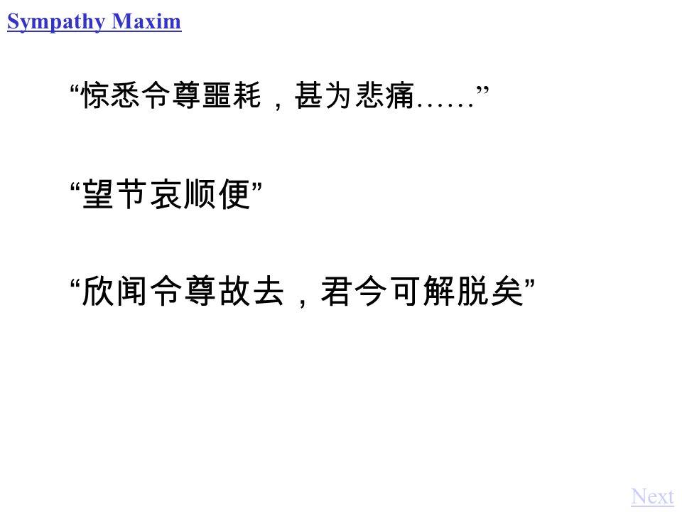 惊悉令尊噩耗,甚为悲痛 …… Sympathy Maxim 欣闻令尊故去,君今可解脱矣 望节哀顺便 Next