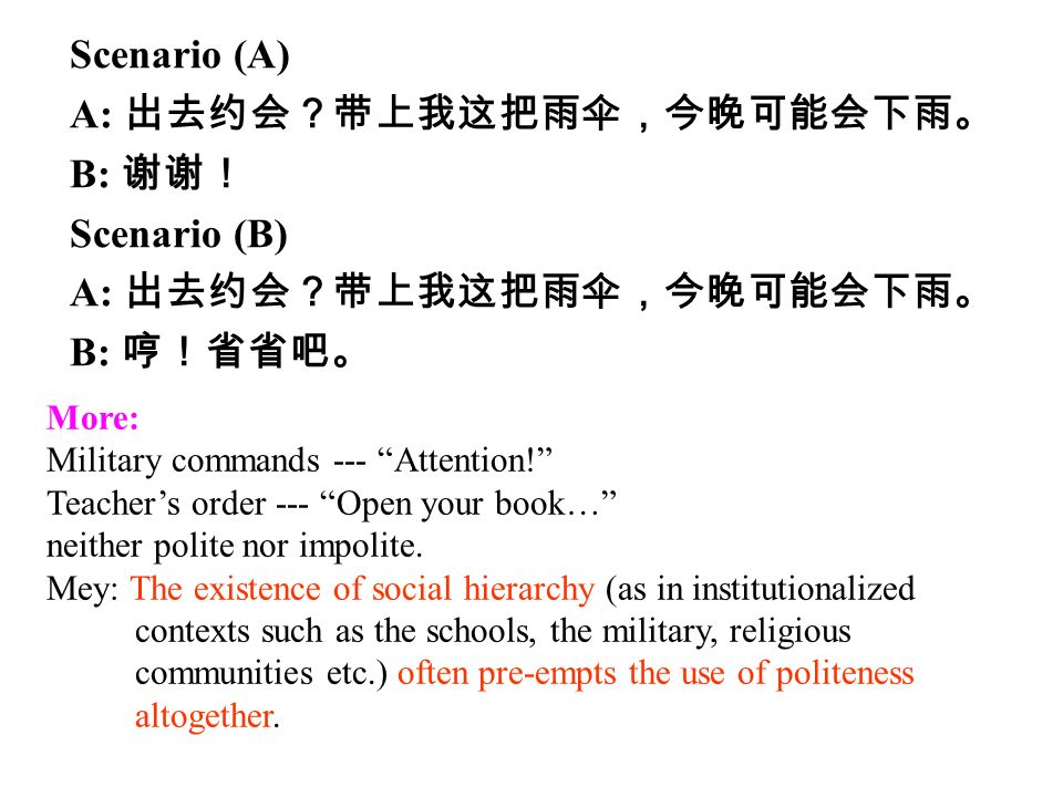 Scenario (A) A: 出去约会?带上我这把雨伞,今晚可能会下雨。 B: 谢谢! Scenario (B) A: 出去约会?带上我这把雨伞,今晚可能会下雨。 B: 哼!省省吧。 More: Military commands --- Attention! Teacher's order --- Open your book… neither polite nor impolite.