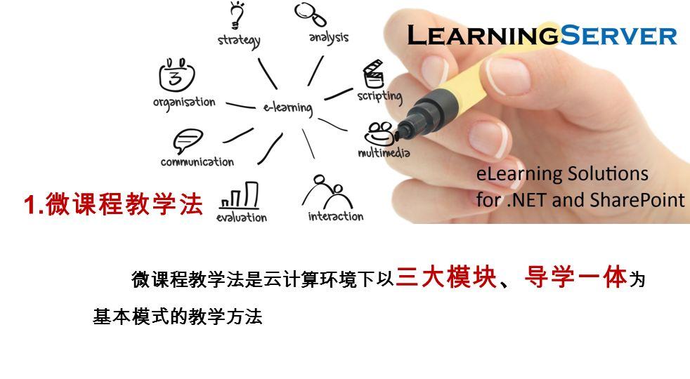 微课程教学法是云计算环境下以 三大模块、导学一体 为 基本模式的教学方法 1. 微课程教学法