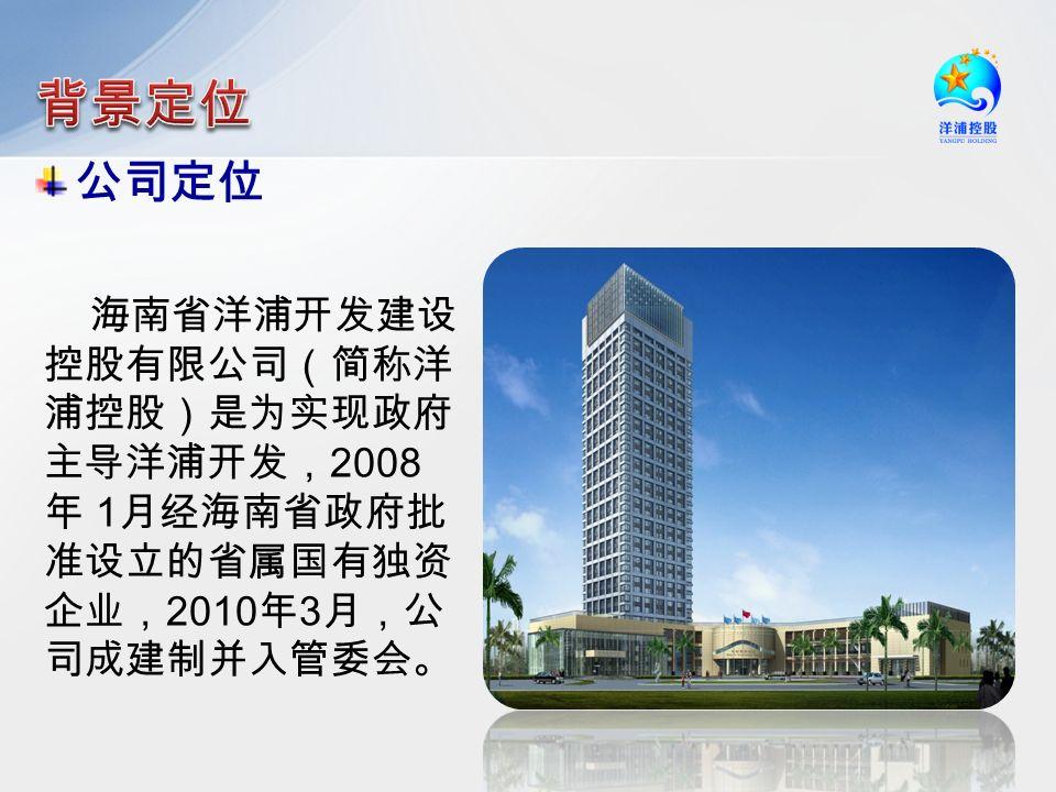 海南省洋浦开发建设 控股有限公司(简称洋 浦控股)是为实现政府 主导洋浦开发, 2008 年 1 月经海南省政府批 准设立的省属国有独资 企业, 2010 年 3 月,公 司成建制并入管委会。 公司定位