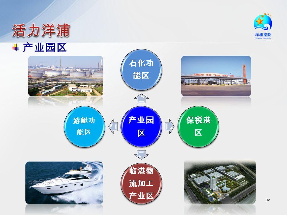 30 产业园区 石化功 能区 保税港 区 临港物 流加工 产业区 游艇功 能区