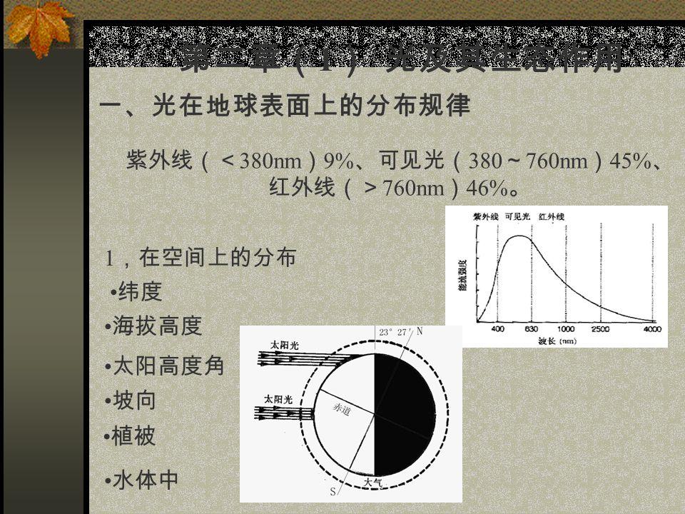 第二章( 1 ) 光及其生态作用 一、光在地球表面上的分布规律 紫外线(< 380nm ) 9% 、可见光( 380 ~ 760nm ) 45% 、 红外线(> 760nm ) 46% 。 1 ,在空间上的分布 纬度 海拔高度 太阳高度角 坡向 水体中 植被